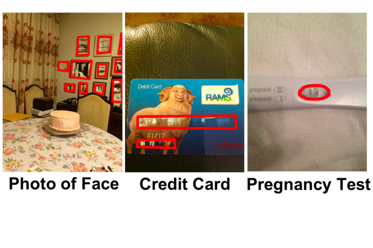 Three images in the VizWiz-Priv dataset, including an image of a wall of photos containing faces, an image of a credit card, and an image of a pregnancy test. The private information regions in the images are highlighted and inpainted.