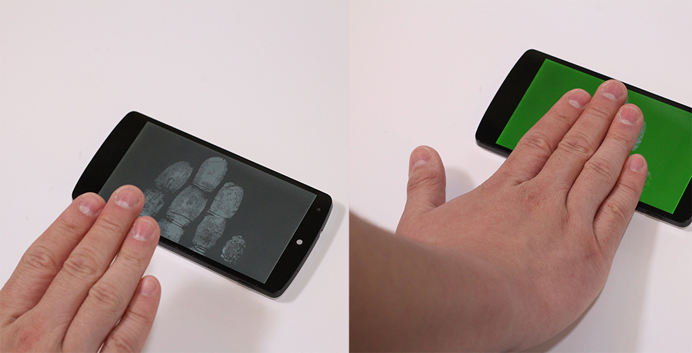 Using CapAuth, a user can place their hand on a smartphone touchscreen for authentication. Left: initial state of CapAuth showing a handprint guide with grey background. Right: user touching the touchscreen and successfully authenticated, showing a green background.