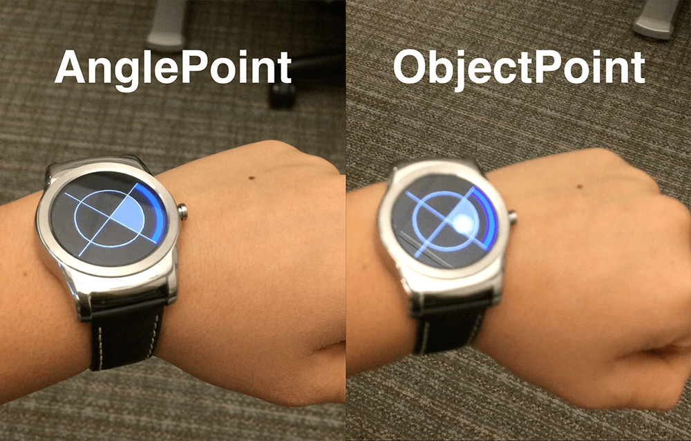 Two tilt-based interaction techniques for enabling no-touch, wrist-only interactions on smartwatches. Left: AnglePoint, which directly maps the position of a virtual pointer to the tilt angle of the smartwatch. Right: ObjectPoint, which objectifies the underlying virtual pointer as an object imbued with a physics model.