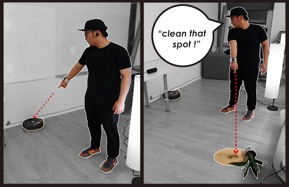 Interaction scenario of Minuet: after returning home, the user points at the Roomba and then the dirty area to ask Roomba to clean it up.