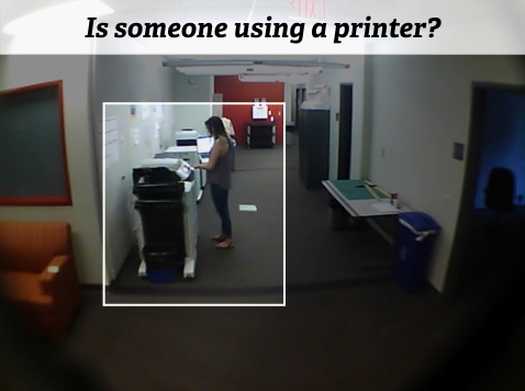 An example question sensor created in Zensors++ asking 'Is someone using a printer?' with a bounding box focusing on the printer area.